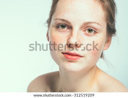beautiful woman face portrait young  - Shutterstock ID 312519209