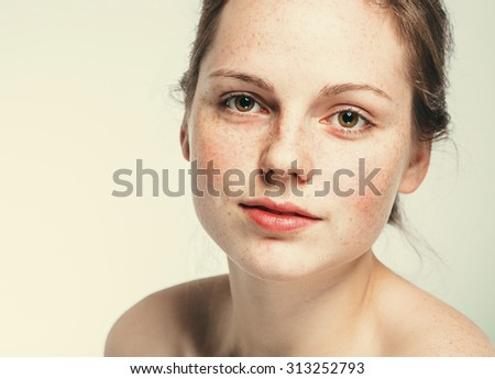 beautiful woman face portrait young   - Shutterstock ID 313252793
