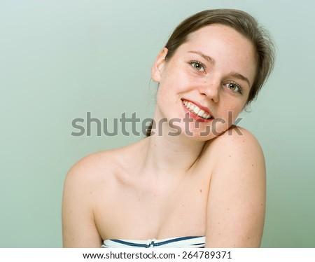 beautiful woman face portrait young studio #264789371