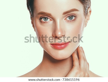 Beautiful woman face, skin care concept, healthy skin.