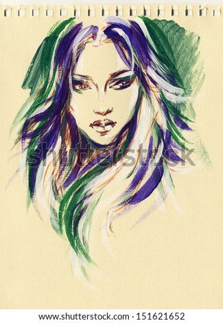 Stock Photo beautiful woman face. watercolor illustration