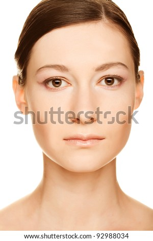 Beautiful woman face with clean skin - isolated on white