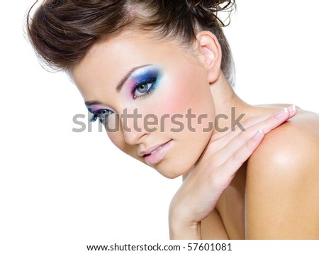 Beautiful woman face with Glamour colors of eye-make-up