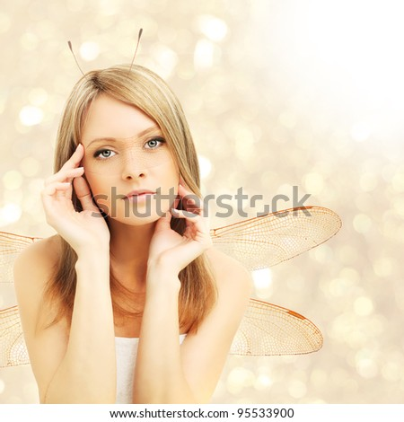 Beautiful woman - fantasy, abstract golden background