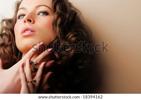 Beautiful woman. Fashion art photo.  Jewelry and Beauty