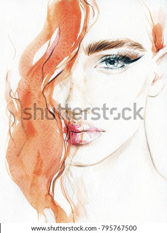 beautiful woman. fashion illustration. acrylic painting