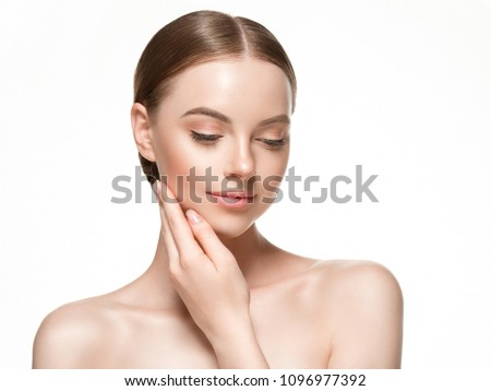 Beautiful woman female skin care healthy hair and skin close up face beauty portrait #1096977392