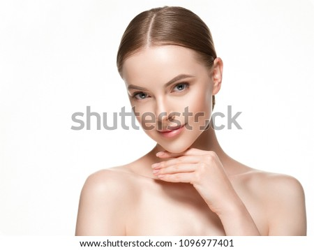 Beautiful woman female skin care healthy hair and skin close up face beauty portrait #1096977401