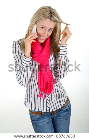 Beautiful woman flirting on a phone