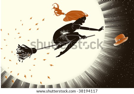 beautiful woman flying on a broom through the darkness. Halloween illustration.Rasterized vector.