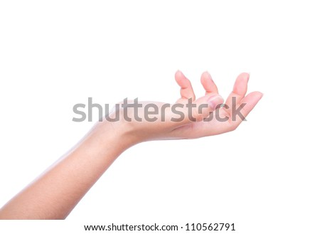 Beautiful woman hand holding isolated on white background