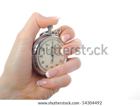 Beautiful woman hand with stop watch. isolated on white background