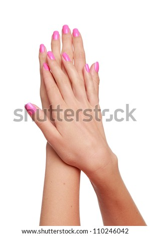 beautiful woman hands isolated on white studio shot