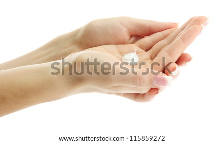 Beautiful woman hands with cream, isolated on white
