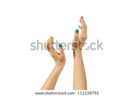 Beautiful woman hands with manicure isolated