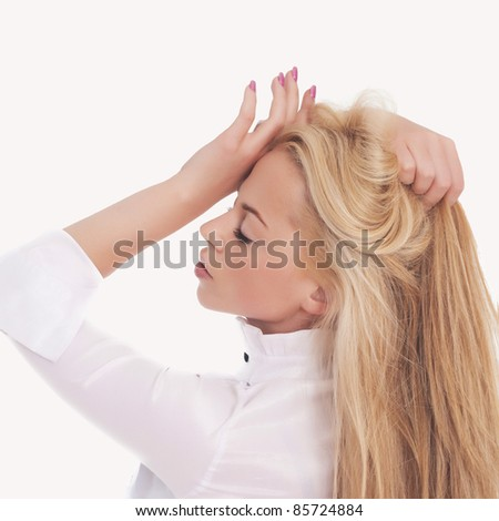 Beautiful woman having a headache.It is not isolated