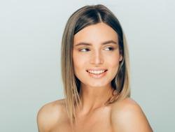 Beautiful woman healthy teeth smile natural makeup healthy skin and hair beauty