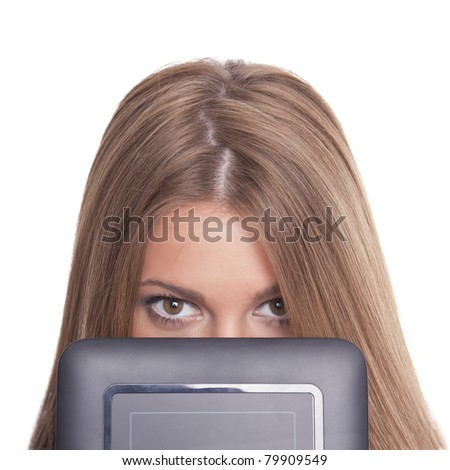 Beautiful Woman Hiding Face With Tablet Computer