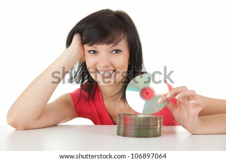 beautiful woman holding a CD or Blue Ray DVD, white background