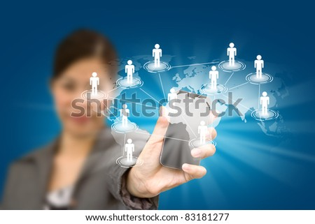 Beautiful woman holding a phone show the social network