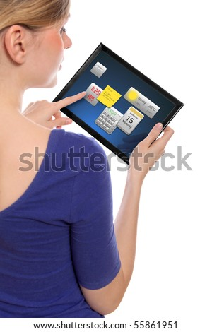 beautiful woman holding a touchpad pc, one finger touches the screen and uses little programmes, isolated on white - stock photo
