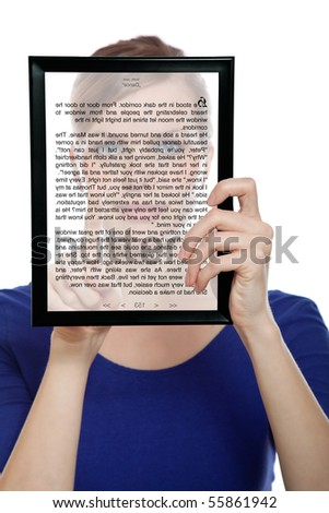 beautiful woman holding a touchpad pc showing an E-Book, isolated on white