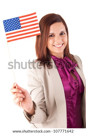 Beautiful woman holding american flag