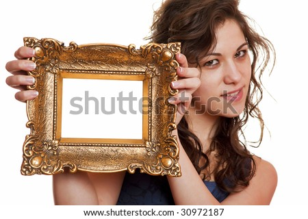 Beautiful woman holding an picture frame