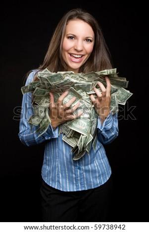 Beautiful woman holding cash money