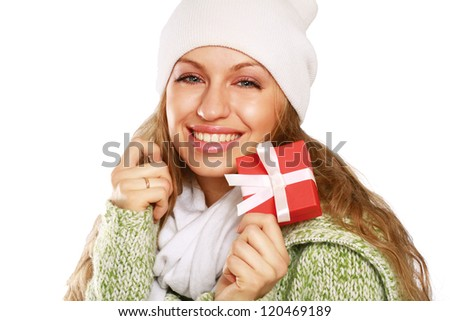 Beautiful woman holding gift isolated on white background
