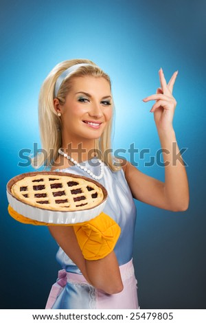 Beautiful woman holding hot italian pie. Retro stylized portrait