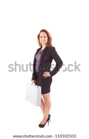 Beautiful woman holding metal grey case