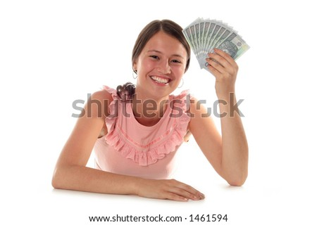 Beautiful Woman Holding Money