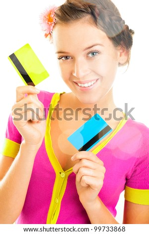Beautiful woman holding two different credit or discount or membership cards