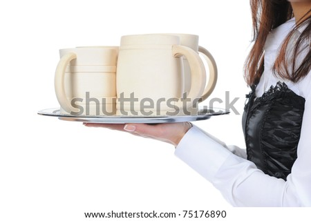 beautiful woman holds a large wooden beer mug. Isolated on white background