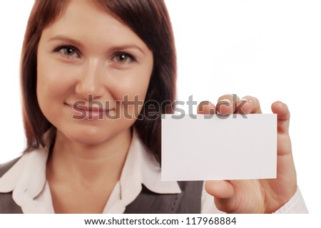 Beautiful woman holds out a business card