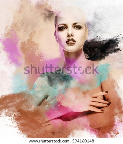 Beautiful woman. Image combined with an digital effects. Digital art