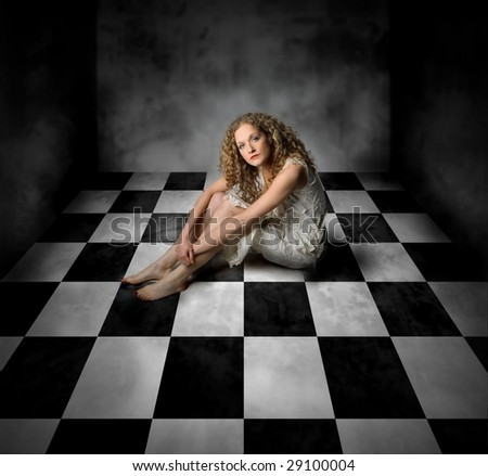 beautiful woman in a empty room