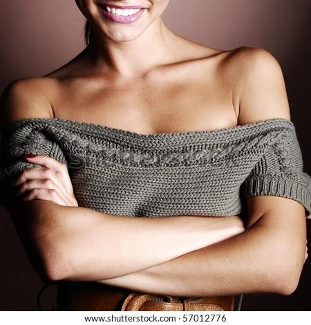 beautiful woman in a warm sweater