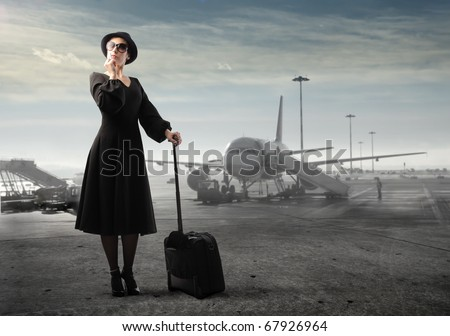 beautiful woman in airport