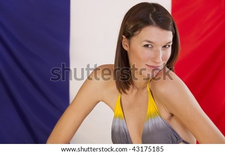 flag of france meaning. in bikini over france flag