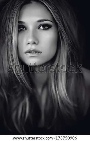 Beautiful woman in black and white portrait