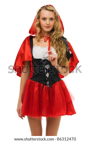 Beautiful woman in carnival costume.   Little Red Riding Hood shape. Isolated image