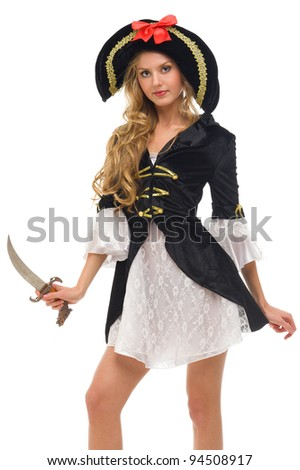 Beautiful woman in carnival costume. Pirate shape. Isolated image