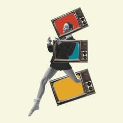 Beautiful woman in casual running throught TV boxes on yellow background. Copy space for ad, text. Modern design. Conceptual, contemporary bright artcollage. Retro styled, surrealism, fashionable.