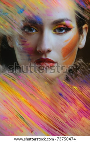 beautiful woman in color paint