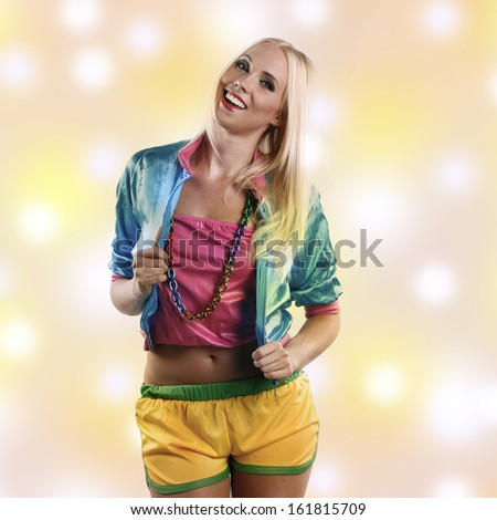 beautiful woman in crazy colorful dance outfit