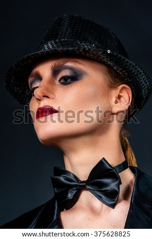 Beautiful woman in hat.Make-up smoky eyes.Red lips.Sexy young pretty woman