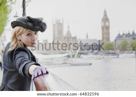 Beautiful woman  in London, with Big Ben in background