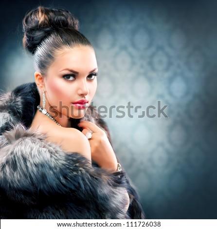 Beautiful Woman in Luxury Fur Coat - stock photo